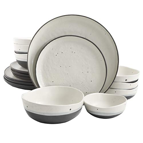 Gibson Elite Rhinebeck Double Bowl Dinnerware Set, Service for 4 (16pcs), White and Black