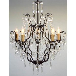 Wrought Iron Crystal Chandelier Chandeliers Lighting H27 x W21 SWAG  PLUG IN-CHANDELIER