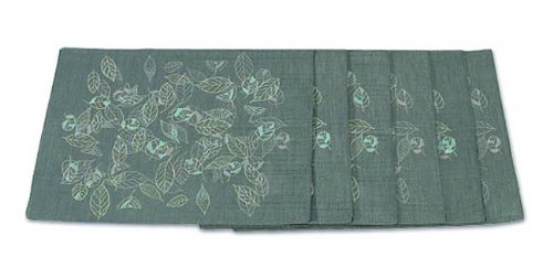 NOVICA Green Silk Blend and Cotton Blend Placemats and Coasters, 'Thai Summer' (Set for 6)