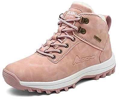 TSIODFO Woens Hiking Boots Winter Women Trail Hiking Shoes Waterproof PU Leather Breathable Comfort Outdoor Womens Ankle Boots Pink Size 6 (G572-pink-36)