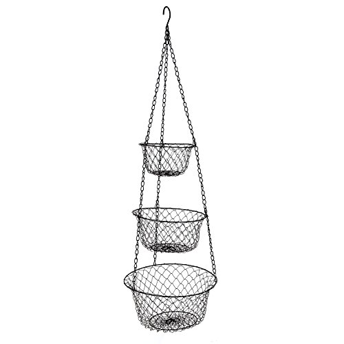 Three-Tier Wire Fruit Basket Hanging Basket And Organizer, Vegetable Container (Basket Potato Hanging)