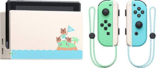 "Newest Nintendo Switch with Green and Blue Joy-Con - Animal Crossing: New Horizons Edition - 6.2"" Touchscreen LCD Display - KKE 256GB MicroSD Card Holiday Bundle"