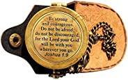MAH Be Strong and Courageous, Do Not Be Afraid Engraved Compass, Joshua 1 9 Engraved Gifts, Confirmation Gift
