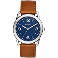Fossil Mens Ledger Three-Hand Brown Leather Watch