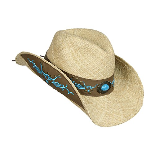 Straw Cowboy Hat w/ Faux Leather, Teal Bull Design, Turquoise Concho, Shapeable Brim