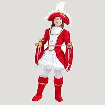 VESTITO COSTUME Maschera di CARNEVALE bambina - LADY MOSCHETTIERE - Taglia  12 13 anni - 131 cm  Amazon.it  Giochi e giocattoli 86971b241a90