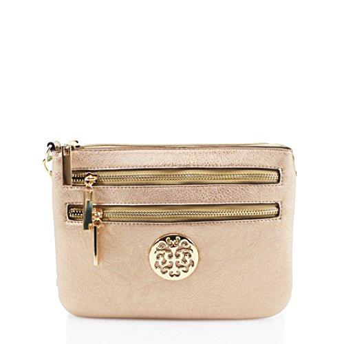 Multi Zip Small Bags Pocket Gold Long Fashion Ladies Wristlet Purse Shoulder Strap Elegant SR5qZwW