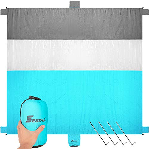 Sand Free Beach Blanket Large Oversized 10' X 9' Waterproof Soft Lightweight Durable Quick Drying Portable Sand Proof Mat for 7 Adults Family Friends Picnic Travel Camping Hiking with 4 Corner Pockets