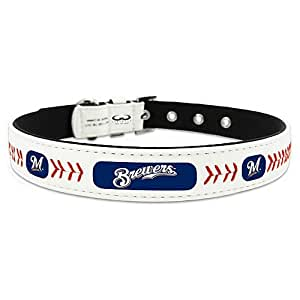 MLB Milwaukee Brewers Leather Dog Collar XS