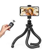 Fotopro Mobiele telefoon statief, flexibel statief voor smartphone met universele clip en Bluetooth afstandsbediening draagbare mini-camera tripod standaard 360° rotatiehouder houder voor smartphone/DSLR-camera/GoPro