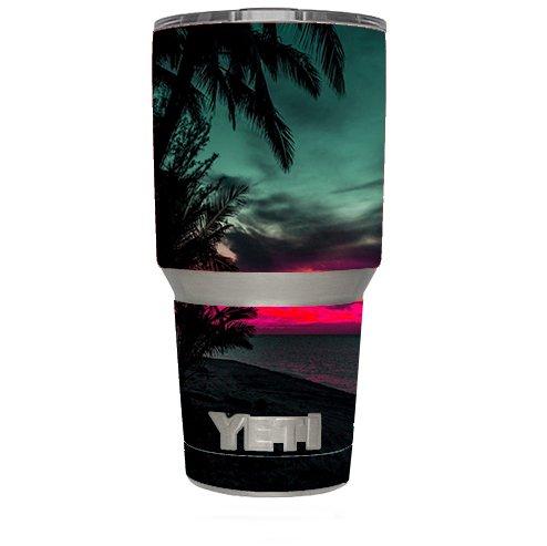 Skin Decal Vinyl Wrap (6-piece kit) for Yeti 30 oz Rambler Tumbler Cup / Ocean sunset Pink sky