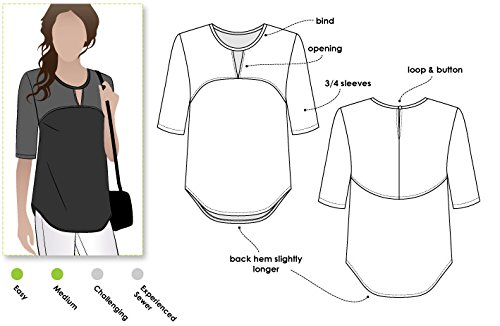 Style Arc Sewing Pattern Sizes 04-16 - Click for Other Sizes Available Dixie Woven Top