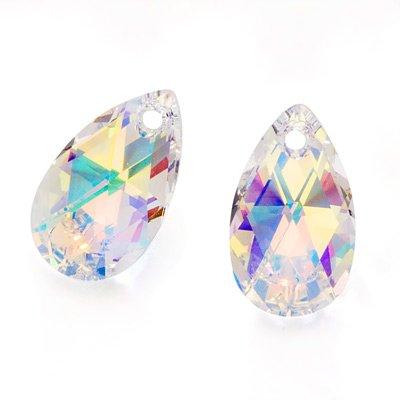Swarovski Crystal, #6106 Pear Pendant 16mm, 2 Pieces, Crystal AB - Ab Swarovski Crystal Drop Bead
