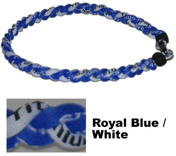 "NEW! 18"" Kids Size Royal Blue White Tornado Necklace With Case"