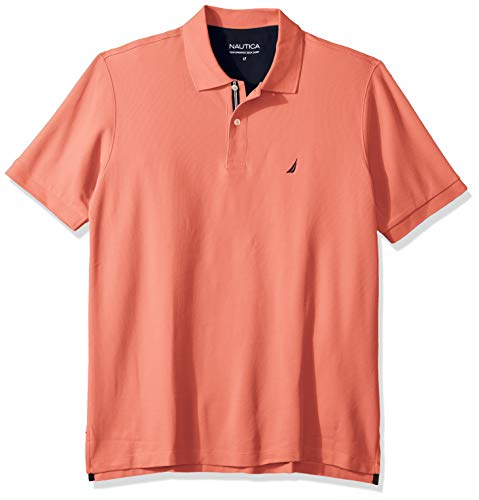 Nautica Men's Classic Fit Short Sleeve Solid Performance Deck Polo Shirt, Pale Coral, 3X Big ()