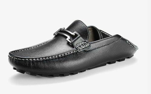 Happyshop (tm) Heren Lederen Casual Mocassin Loafers Rijschoenen Comfort Instappers Cent Flats Zwart