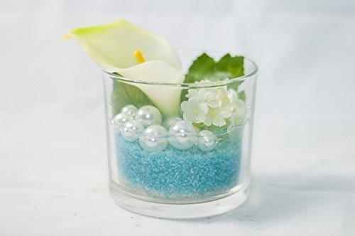 Bodegaglas in türkis/weiß mit weißer Calla - künstliche Blumen ...