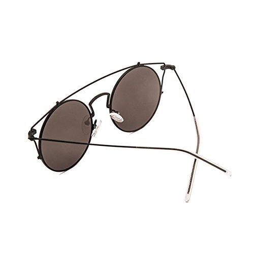 Color Sol Caja Y De De Sol Negro Personalidad Huecos La Redondas LIZHIQIANG Gafas De Americana De Negro Conducción Polarizador Femenina Grande Europea Retro De Cara Moda Gafas EnxxqCw7vS