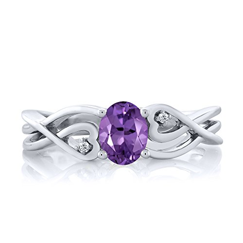 Gem Stone King 925 Sterling Silver Oval Purple Amethyst White Diamond Women s Ring 0.36 Ctw Available 5,6,7,8,9