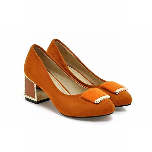 Charm Foot Womens Chunky Heel Mid Heel Pumps Shoes Light Tan I35u0yam8J