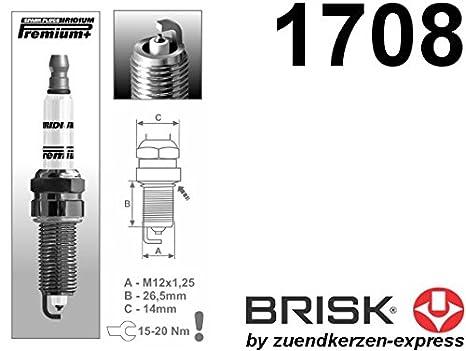 Brisk Iridium Premium + Plus P11 1708 Bujía, 4 unidades): Amazon.es: Coche y moto