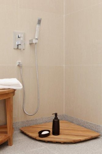 Bare Decor Dania Corner Shower Spa Mat, 24 by 24-Inch, Solid Teak Wood and Oiled Finish by Bare Decor (Image #2)
