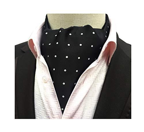 Men's Classic Novelty Jacquard Woven Self Cravat Ties Ascot Black with White Polka Dot