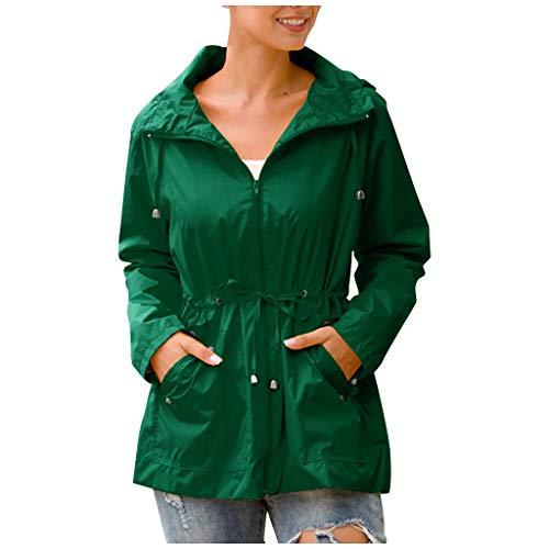 Women's Raincoats Hooded Waterproof Zipper Mid-length Windproof Raincoat Jacket Lightweight Outdoor Trench Coats