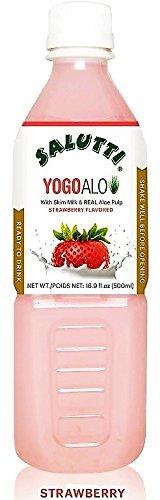 Salutti YogoAlo Stawberry Flavored Aloe Drink 16.9 Oz, 10 Pack