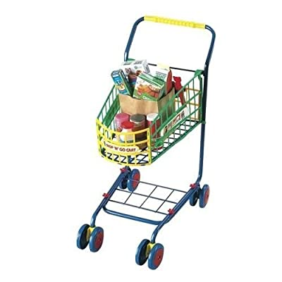 Sturdy Metal Frame Cart is Easy to Push, with Swiveling Front Wheels