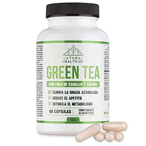 Te verde con cola de caballo y cafeina para eliminar la grasa acumulada - Adelgazante que contribuye a acelerar el metabolismo - 60 capsulas