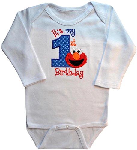 Embroidered Elmo My First Birthday Year 1 Onesie Bodysuit Creeper Handmade Keepsake (24 Months Long Sleeve) -