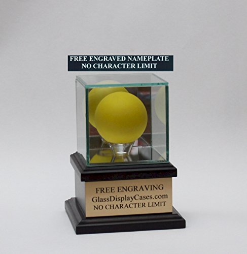 Engraving Free Base - Lacrosse Ball Personalized Real Glass Display Case with Black Hardwood Platform Base & Free Engraving