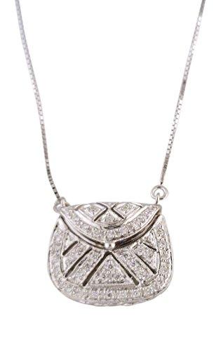 - Women's Diamond Purse Pendant Necklace 14k White Gold .22 cttw
