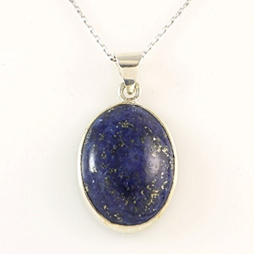Sterling Silver Genuine Dark Blue Lapis Lazuli Gemstone Oval Handcrafted Pendant Necklace 18+2'' Chain - Zodiac Power Pendant