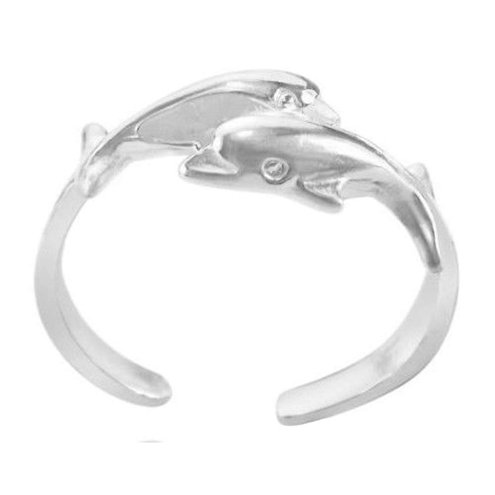 Mid Ring Elinajewels 14k White Gold Plated 925 Sterling Silver Womens Twin Dolphins Adjustable Toe Ring
