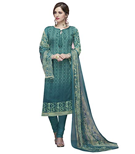 Ready to Wear Six Varient Colored American Crepe Fabric Printed Salwar Suit (Teal, - Crepe Salwar Suit