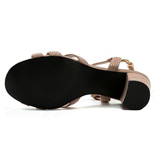Alexis Leroy Diamante T-Strap, Sandalias de Talón Abierto Mujer Khaki