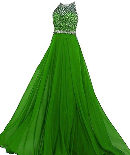 Bd082 Lunga Anno Una Splendida Linea Da Perline Ballo Aperti Abiti Dreses Bessdress Sexy Sera Posteriore Fine Di Di Verde qgET11R