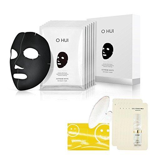 Ohui Extreme White 3d Black Mask 27g X 6pcs ,Whitening Functional mask + Gifts, UV pro Arm sleeve, miracle moisture skin, emulsion