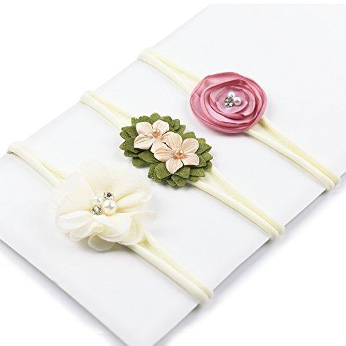 Baby Girl Flower Headband | Nylon Hair Bands - Soft Elastic Design Set of 3 ( Beige Bands )