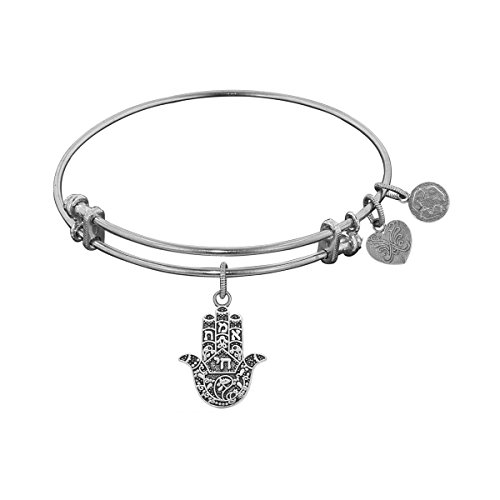 White Stipple Finish (Antique White Stipple Finish Brass Hamsa Angelica Bangle)