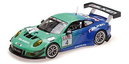 Minichamps–Porsche 911/991GT3R–Collectible Car Van 2017, 155176904, Green/Blue