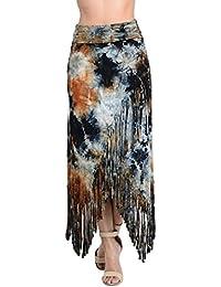 Fringe maxi skirt wrap cross over front fold waist tie dye navy black rayon bohemian