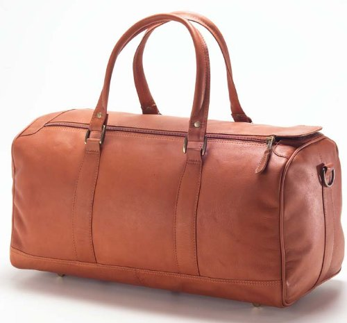 (Clava Barrel Leather Duffel Bag Carry On in Tan)
