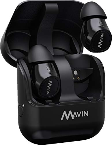Mavin Air-X True Wireless Bluetooth 5.0 Earbuds with Charging Case,10h Battery, IPX5 Sweat Proof, Built-in Latest SoC,10 mins Quick Charge: Up to 100 ft. Range, Noise Cancelling Sports Earbuds,Black