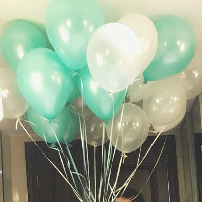 Eshanmu Tiffany Blue & White Latex pearl Balloon wedding Decoration 12inch (Tiffany Blue Party Decorations)