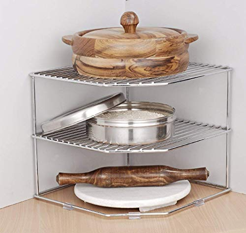 HR Expert™ Kitchen Plate Dish Corner Shelf Rack Stand Shelves Holder, Cupboard Organizer, Home Storage, Size 12 x 12 x 12 Inches Price & Reviews
