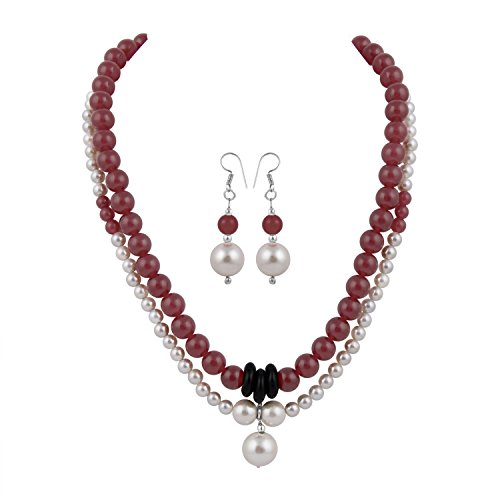 Pearlz Ocean White Shell Pearl and Red Jade Necklace Set