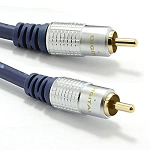 kenable Pure HQ OFC SPDIF Digital Audio 75Ohm Subwoofer Cable Gold 1m (~3 feet)